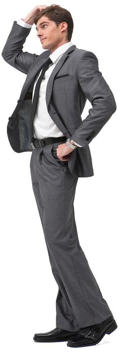 Muž v obleku přemýšlí i skákacích atrakcích
